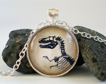 Dinosaur Necklace - Tyrannosaur / T Rex Necklace in Silver