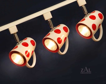 Track Lighting. Coffee mugs, Polka dotted . 3 Track lights & Track.