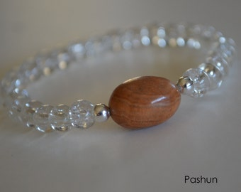 Yoga Stretch Bracelets ... Clear With Brown Bead (1365)