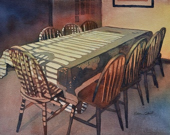 watercolor ORIGINAL Before the Feast dinner meal dining room table