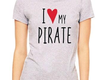 I Love (Heart) my Pirate design2 tee shirt - Soft Cotton T Shirts for Women, Men/Unisex, Kids