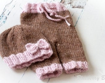 SALE 50% off - Newborn Beanie Hat and Pants Set - Photo Prop - Cocoa & Pink - UK Seller, Ready to Ship