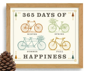 Happy Biker Bicycle Art Bike Rider Gift Bike Art Loves Cycling Art Bike Enthusiast Vintage Inspired 365 Days Bike Shop Bike Team