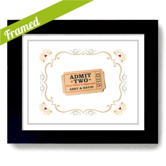 Wedding Gifts For Couple Etsy : Personalized Wedding Gift for Couples Ticket to Happiness Unique ...