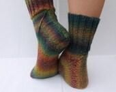 Wool Unisex Socks, Hand Knit Wool Socks, Knit Women Socks, Knit Men Socks, Green Brown Wool Socks