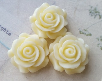 27 mm Cream Color Rose Resin Flower Cabochons (.hm)