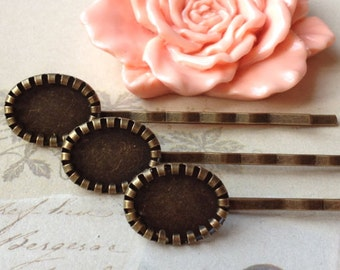 60 mm Antiqued Bronze Bobby Pins With 10 x 14 mm Settings (.su)