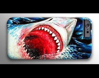 Great White Shark iPhone 4 4s 5 5s 5c 6 Case, Samsung Galaxy Hard Plastic Cover, Nature Art, Ocean Art, Jaws Phone Case