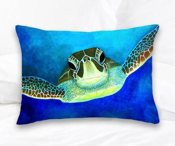 Sea Turtle Decorative Pillow Throw Pillows Surf By SAXONLYNN