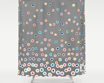 Premium FABRIC SHOWER CURTAIN Multicolor Polka Dots Bubbles Neutral Gray  Modern Contemporary Children Kids Boys Girls