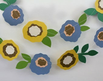 Flower Garland, Wedding Garland, Paper Garland, Party Decor, Home Decor, Blue and Yellow Flowers