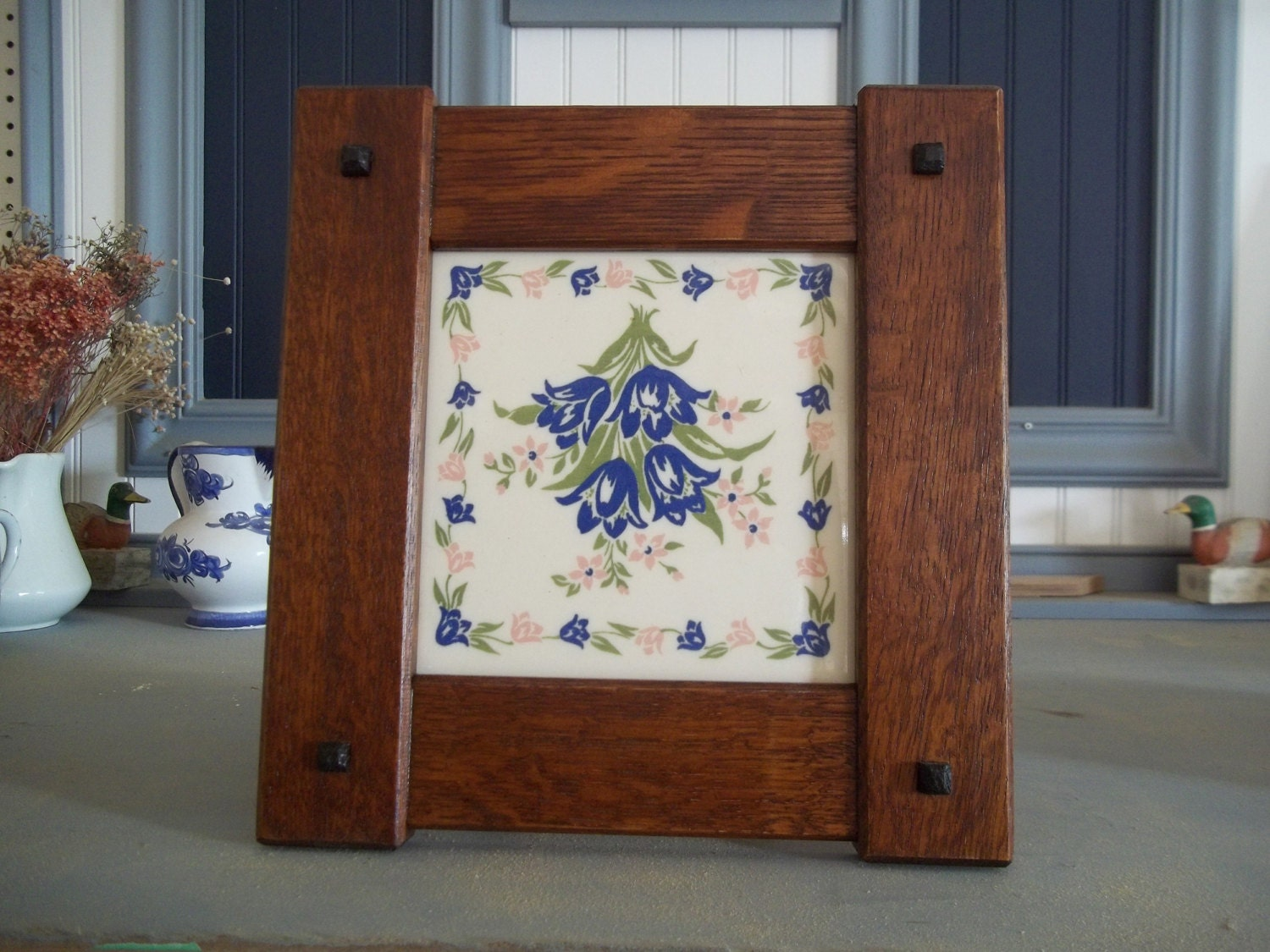 x 6 tile frame handcrafted mission style quartersawn white oak zoom