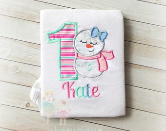 Snowman birthday shirt - 1st birthday snowman shirt - winter wonderland themed shirt - snowman themed birthday - 1st Christmas shirt