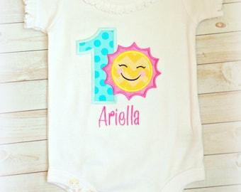 Summer sun birthday shirt - 1st birthday sunshine shirt - pink sunshine birthday - sun themed birthday shirt - sunshine themed girls shirt