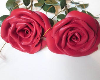 Leather roses, 2 Red Roses ,long Stem Flowers, Leather  bouquet,  Wedding 3rd Anniversary Gift,  Valentines Day