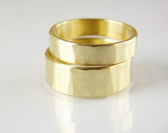 Simple wedding ring. Gold tone brass band. His and hers wedding bands.