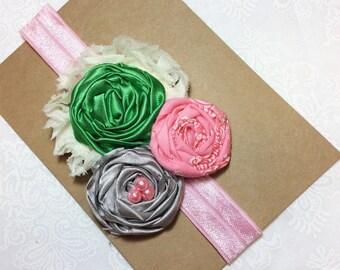Green pink gray girl headbands grey iviry chiffon flower matilda jane m2m whimsical flower infant baby girl newborn women teen