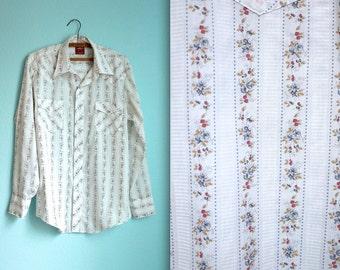 vintage 70s mens Chute western shirt / white floral pattern / wallpaper striped / size large