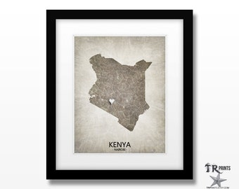 Kenya Map Print - Home Is Where The Heart Is Love Map - Original Custom Map Art Print Available in Multiple Size and Color Options
