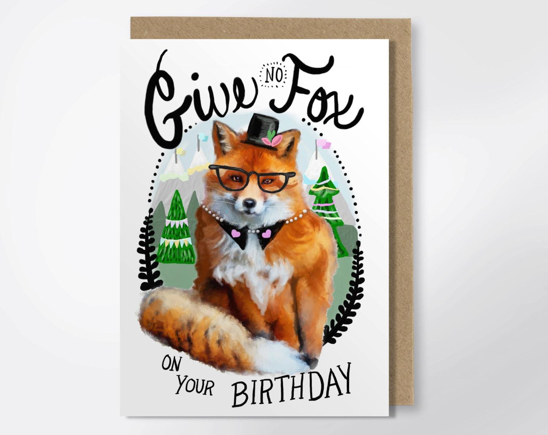 Birthday Card Give No Fox Funny Birthday Card Fox – Burt Reynolds Birthday Card