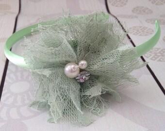 Green headband, headband with pearls, rhinestone headband, light green headband, Christmas headband, St. Patricks Day