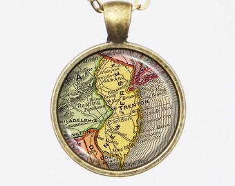 State Map Necklace - New Jersey -Vintage Map Series