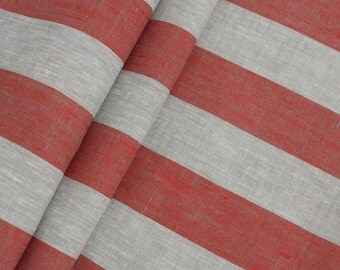 3 Yards linen fabric gray red striped