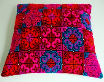 Embroidered Pillow Cover Handmade Red  Blue Pink Tribal Ethnick Pattern Home Decoration Colorful