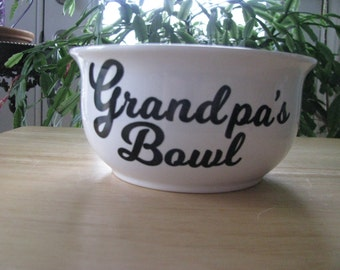 Personalized porcelain bowl with vinyl for Mom, Dad, Grandma, Grandpa, etc – for dessert, ice cream, cereal, popcorn or …