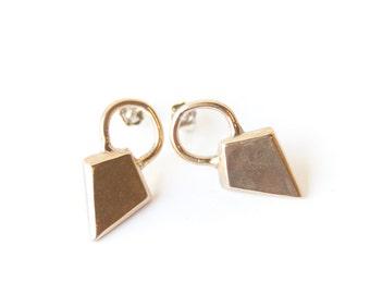 Brass Studs - Small Geometric Studs    Shield Studs  