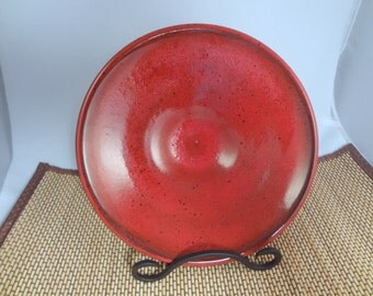 Red Ceramic Plate Decorative or Functional