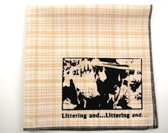 SALE - Super troopers littering and on super soft discontinued cream plaid cotton Hanky- Last one