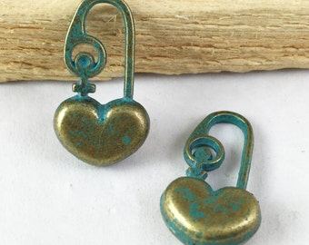 6pcs Antique Blue Bronze Rustic Patina Heart Lock Charm Pendants 15x28mm D506-5