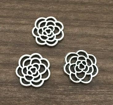 Flower Charms -25pcs Antique silver Flower Connectors charm Pendants 16mm AB202-2 steampunk buy now online