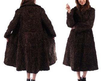 PERSIAN LAMB FUR Coat . 60s Vintage Luxury Outer Wear Brown Transformable Vintage Karakul Fur Brown Midi Mini Winter Luxe Ladies Coat Medium