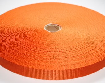 """1"""" Orange Nylon Heavy Weight Webbing - Two or Five Yards - More Available"""