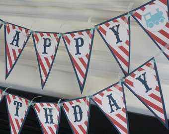 Happy Birthday Navy Red & Light Blue Stripe Pennant Vintage Train Choo Choo Boy Theme Banner - Party Pack Specials - Free Ship Over 65.00