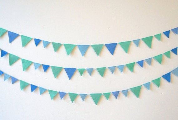 Flag Garland Ocean Colours Flag Bunting Blue And Green By