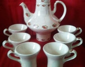 Strawberry Tea Set-8pc.Set-Ceramic-Mother of Pearl-Handcrafted