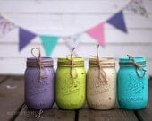 Rustic Vintage Painted Pint-Sized Mason Jar - Set of Four