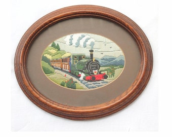 Vintage mahogany framed steam train embroidered silk picture. Ready to hang