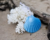 Beach Christmas Ornament - Beach Decor Scallop Shell Holiday Ornaments -  Set of 3 Metallic Light Blue  Ornaments