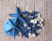 Beach Decor - Blue Shell and Hand Tumbled Seaglass Mix Nautical Decor