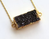 SMALL BLACK DRUZY, Gold, Dipped, Plated, Edged, Pendant, Necklace, Geode, Jewelry, Rectangle, Every day, Tiny, Crystal, Mineral, Cluster