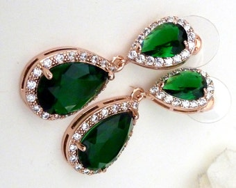 Wedding Bridal Earrings Large Rose Gold Plated Halo Emerald Green Pear Shaped Cubic Zirconia with Matching Pearshaped Post Earrings