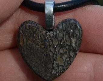 Dinosaur Bone Heart Shape Pendant & Necklace Prehistoric jewelry DH-25