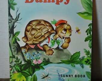 Dumpy - Sunny Book - 1970 - Lucy MacDonald - Vintage Childs Book - Dumpy the Turtle - Colorful Childrens Illustrations