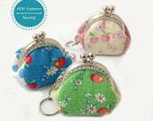 mini purse pattern, sewing pattern for keychain tiny purse pdf template tutorial 5cm frame