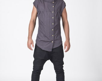 Playful Asymetric Vest!! Original design!! Mad maxx style !! all organic!!