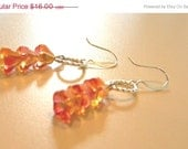 Sale Glass Three Tier Flame Bell Flower Earrings